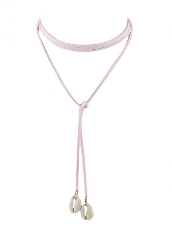 affordable Shell Long Choker Wrap Necklace - LIGHT PINK