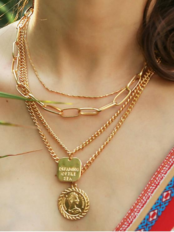 shops Layered Chain Disc Pendant Necklace - GOLD