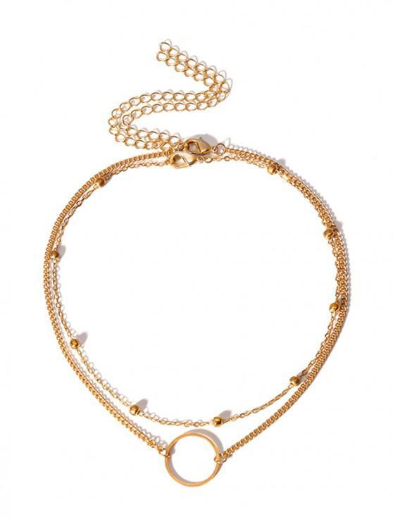 unique 2Pcs Circle Bead Necklace Set - GOLD