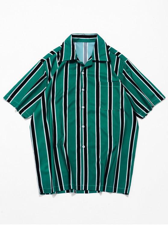 Stripes Print Button Up Casual Shirt - Mittleres Meer Grün M