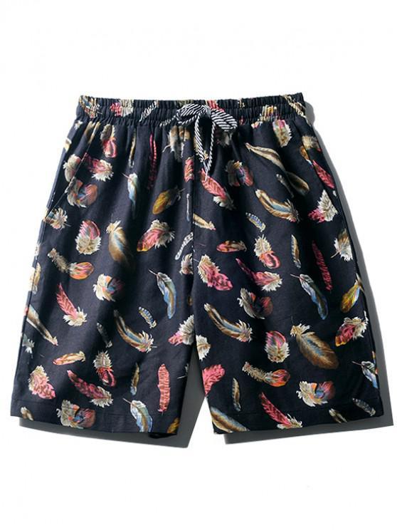 Shorts de tablero con estampado de plumas de colores - Cadetblue XS