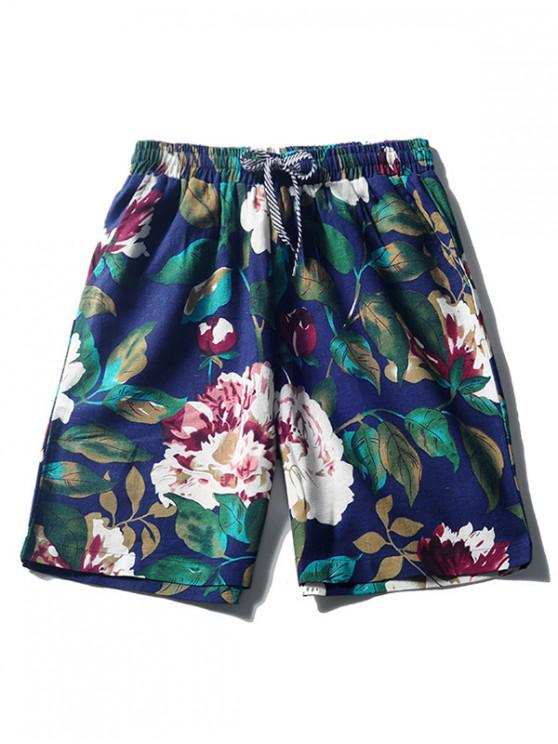 latest Flower Plant Painting Print Beach Shorts - CADETBLUE M