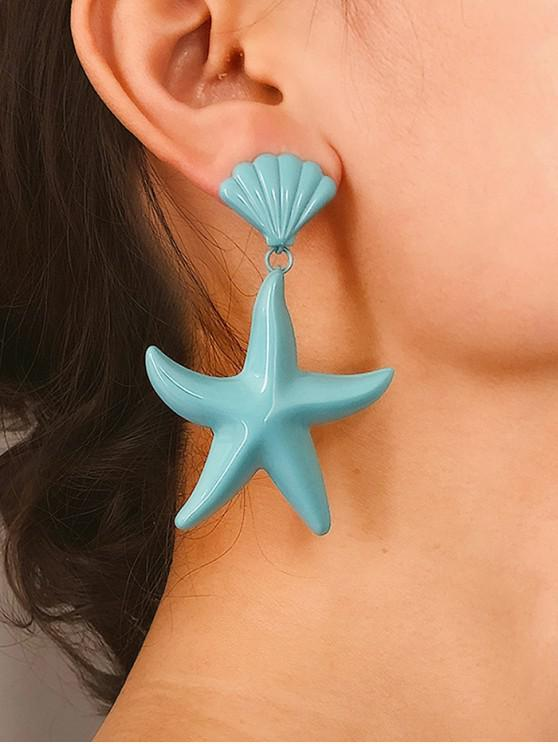 latest Starfish Shell Candy Color Earrings - BLUE