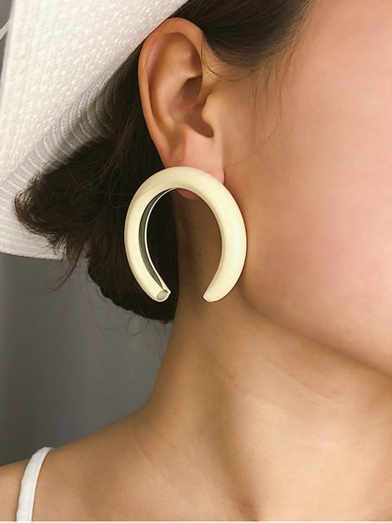 chic Tube C Shape Stud Earrings - WHITE
