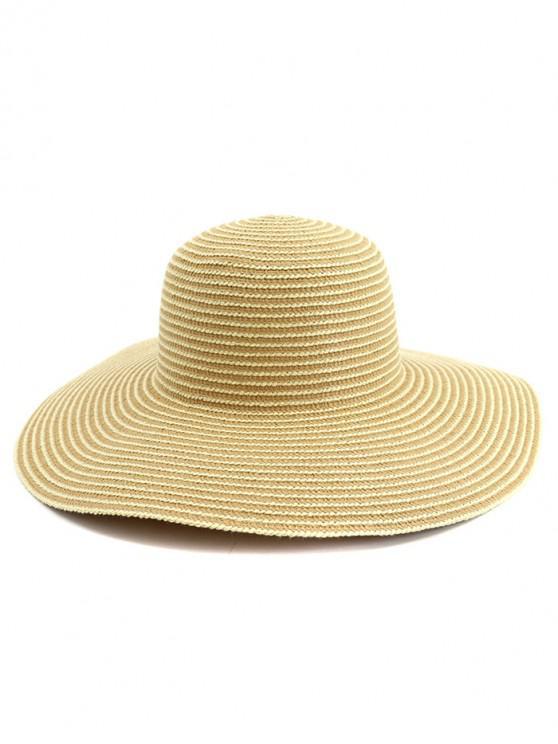 sale Wide Brim Striped Straw Sun Hat - KHAKI