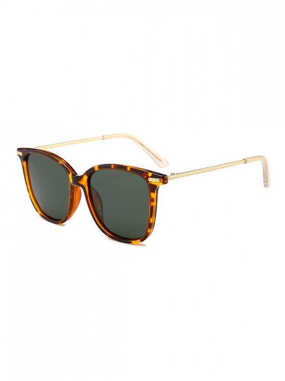 women Metal Square Anti UV Sunglasses - LEOPARD