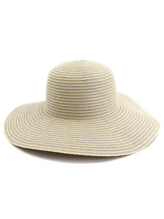 ladies Wide Brim Striped Straw Sun Hat - GRAY