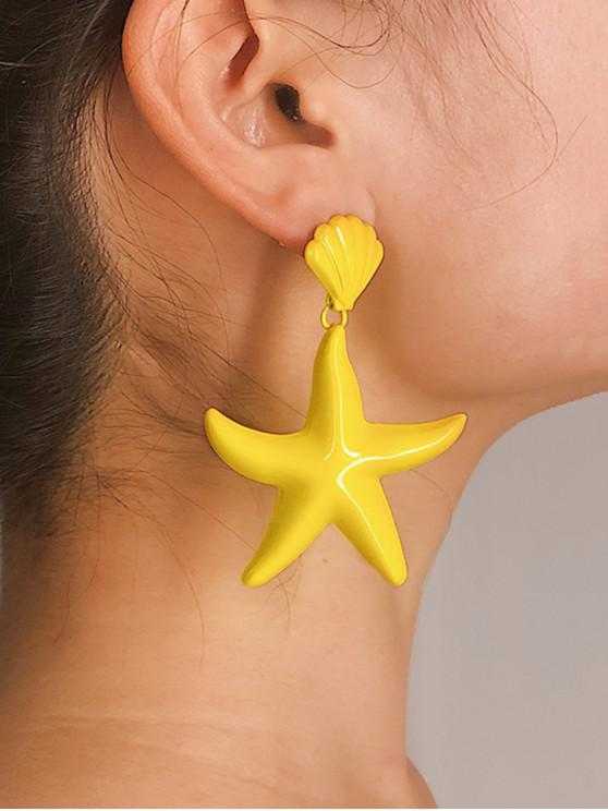sale Starfish Shell Candy Color Earrings - YELLOW