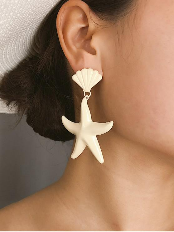 affordable Starfish Shell Candy Color Earrings - WHITE