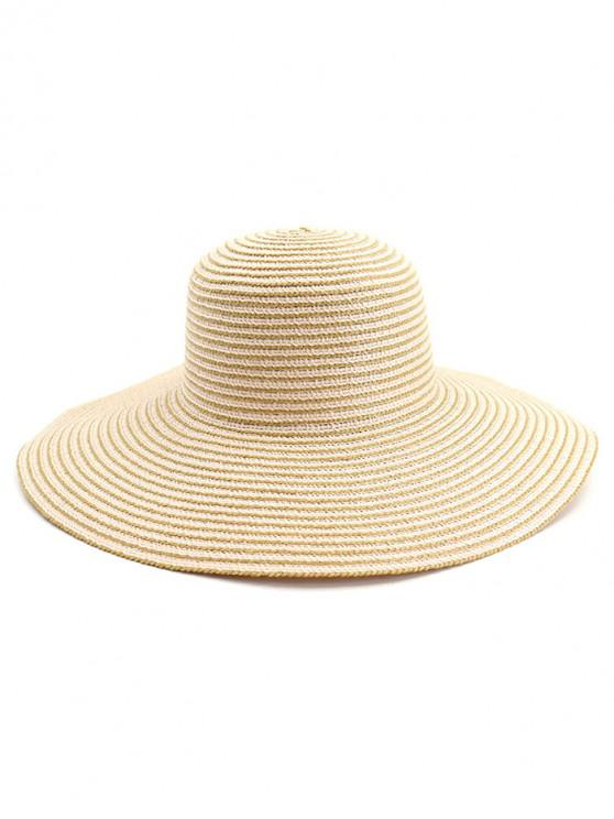 women Wide Brim Striped Straw Sun Hat - PINK