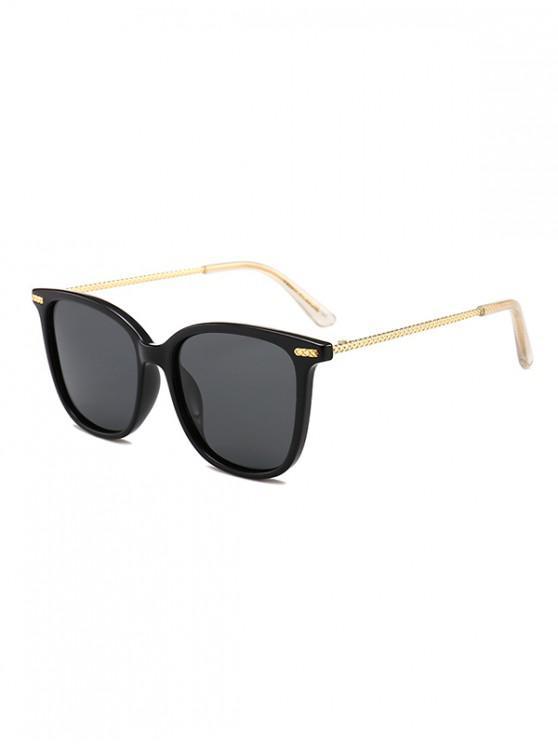 lady Metal Square Anti UV Sunglasses - BLACK