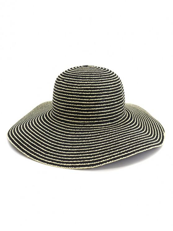 best Wide Brim Striped Straw Sun Hat - BLACK