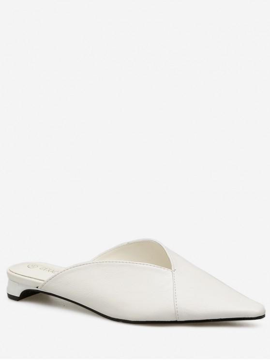shops Low Heel Pointed Toe Solid Mules - WHITE EU 37