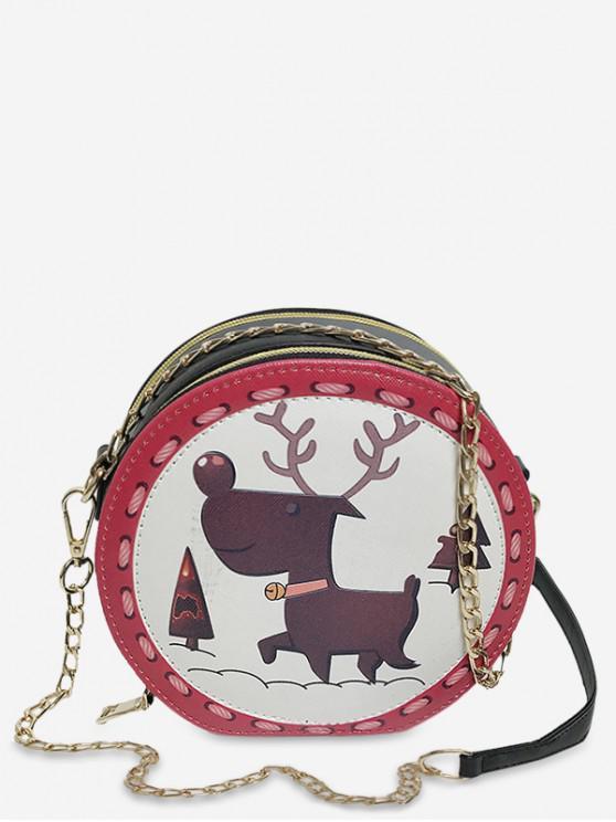 fancy Animal Print Round Shoulder Bag - CHESTNUT RED