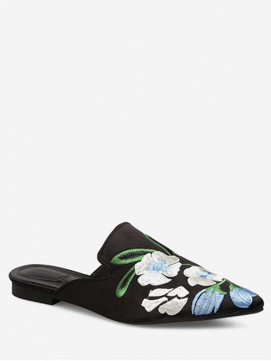 women's Pointed Toe Flower Pattern Embroidered Sandals - BLACK EU 35