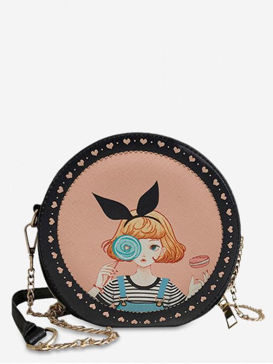 best Animal Print Round Shoulder Bag - SANDY BROWN