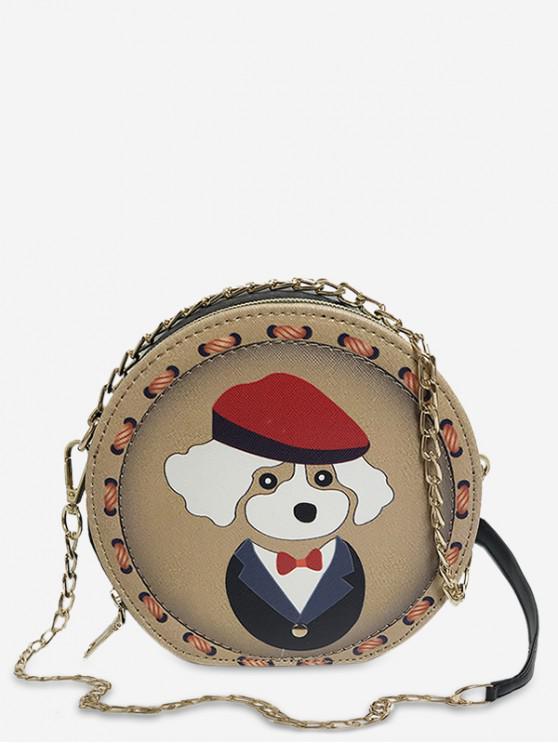 online Animal Print Round Shoulder Bag - CARAMEL