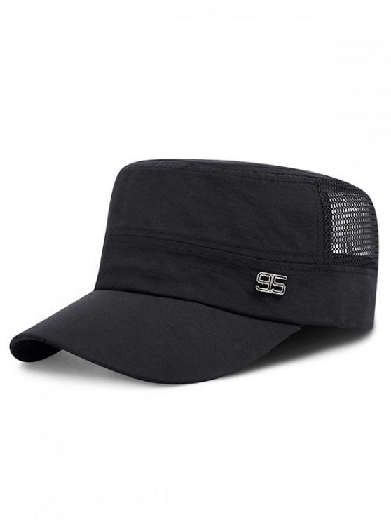 fashion Adjustable Number Mesh Cadet Cap - BLACK