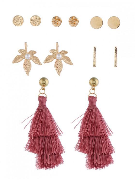 unique 6Pairs Tassel Button Earrings Set - MULTI-E