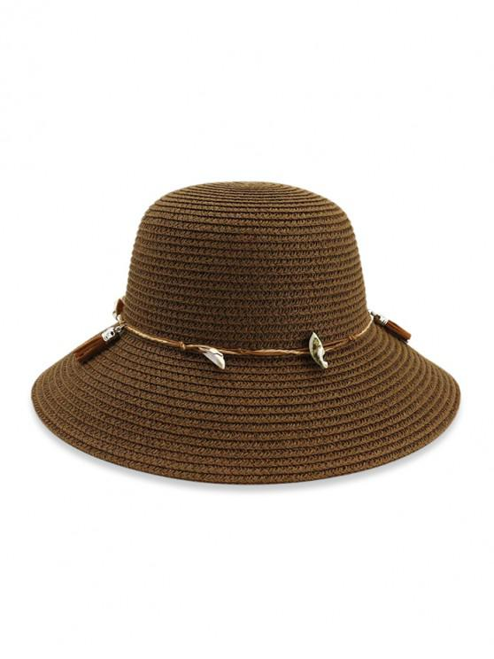 ladies Fringe Shell Decor Straw Fisherman Hat - COFFEE