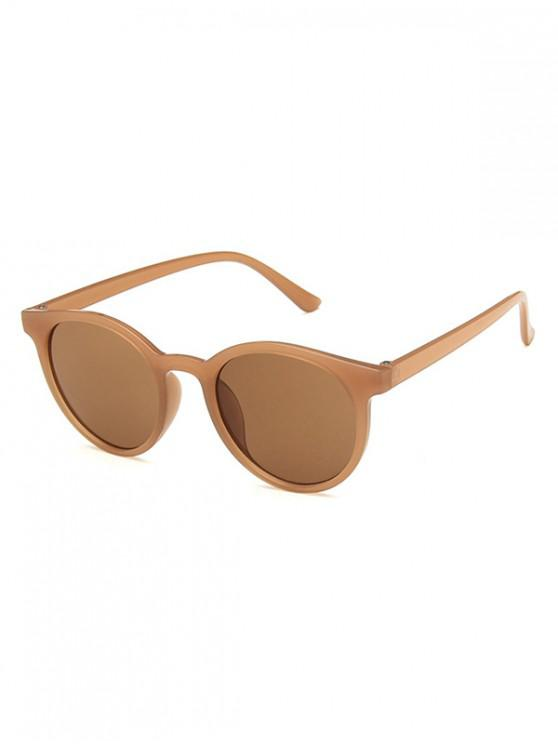 fashion Round Frame Decoration Sunglasses - COFFEE