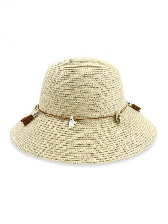 26acf52d 31% OFF] 2019 Fringe Shell Decor Straw Fisherman Hat In BEIGE | ZAFUL