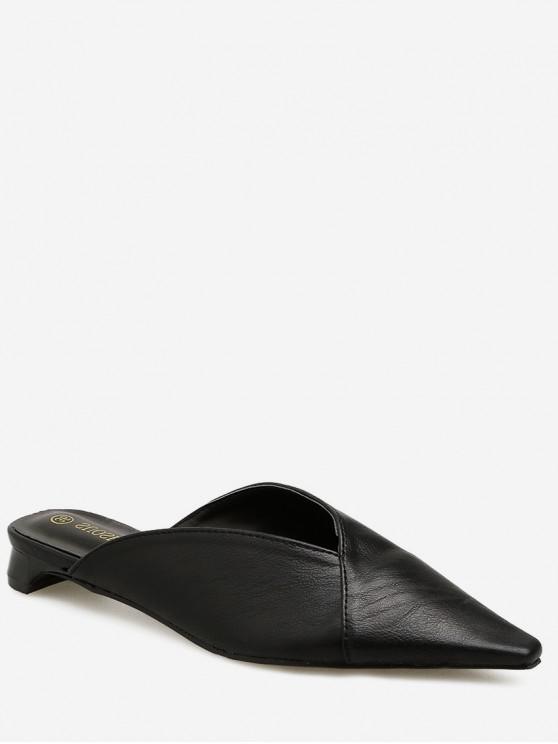 women's Low Heel Pointed Toe Solid Mules - BLACK EU 39