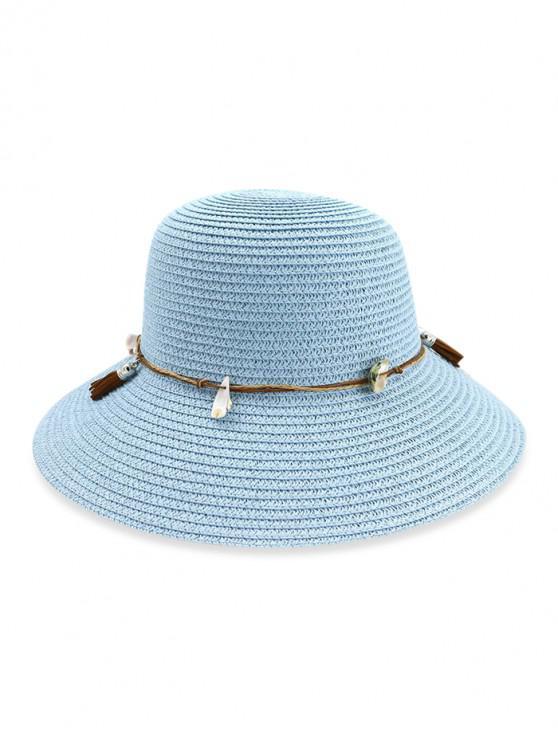 online Fringe Shell Decor Straw Fisherman Hat - DAY SKY BLUE