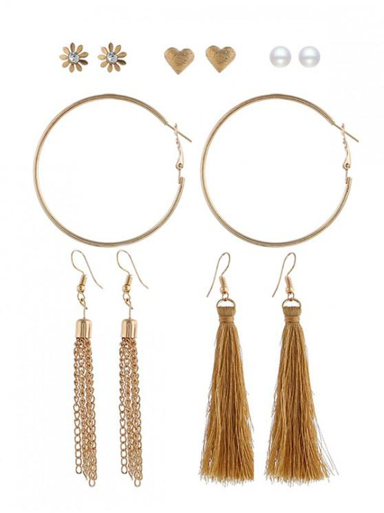 buy 6Pairs Tassel Button Earrings Set - MULTI-C