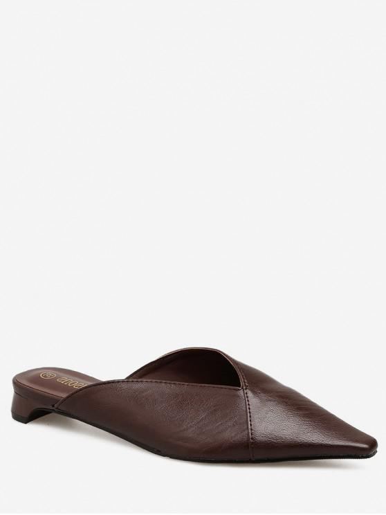 women's Low Heel Pointed Toe Solid Mules - BROWN EU 39