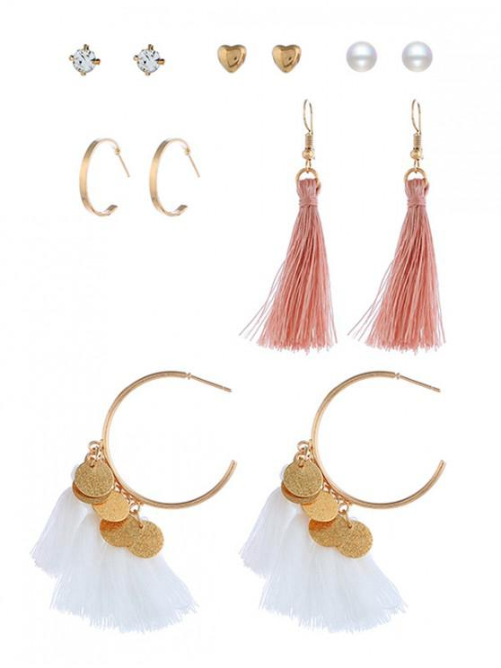lady 6Pairs Tassel Button Earrings Set - MULTI-D