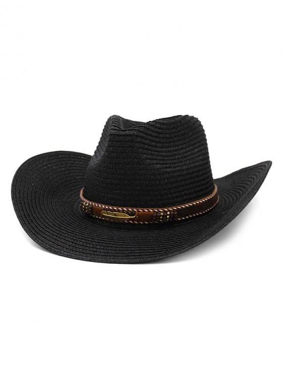 fashion Straw Beach Sun Cowboy Hat - BLACK