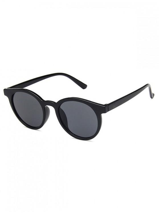 latest Round Frame Decoration Sunglasses - MIRROR BLACK