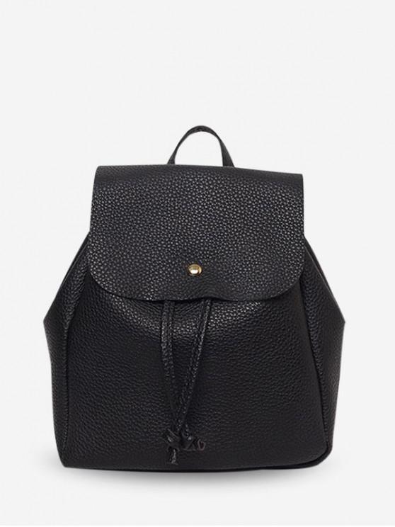 women Casual Drawstring Mini Backpack - BLACK