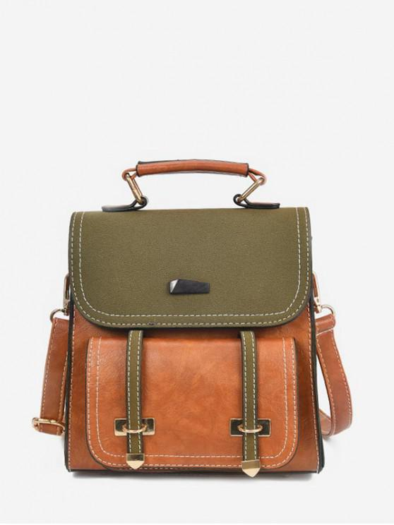 best Contrast Color Preppy Style Leather Backpack - CARAMEL