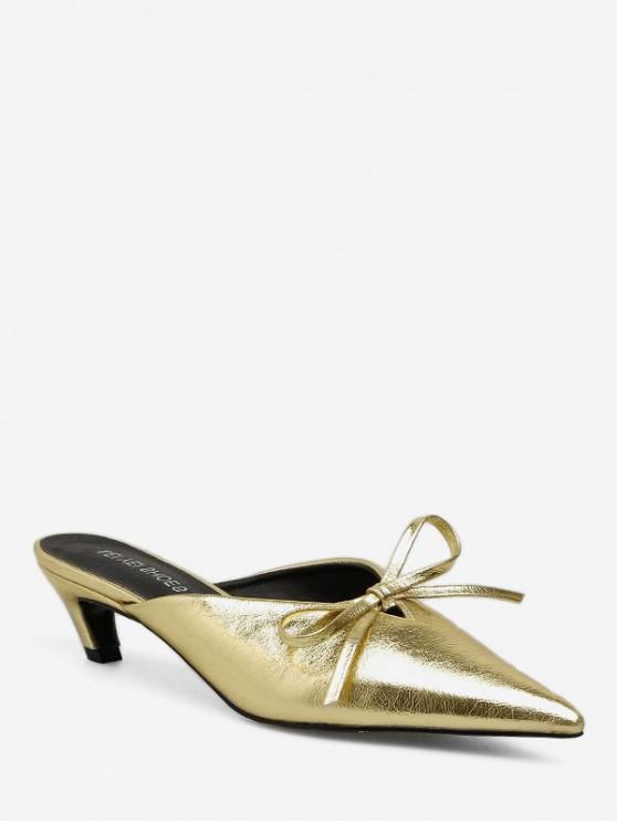latest Kitten Heel Pointed Toe Bowknot Decorated Sandals - GOLD EU 37