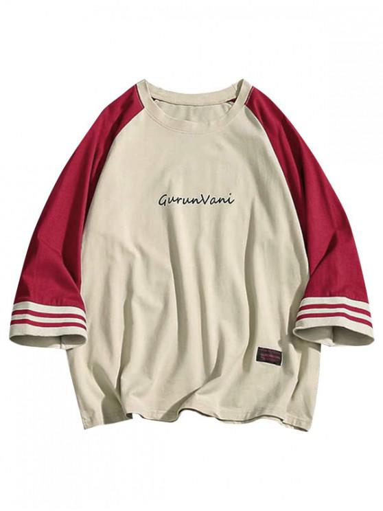 latest Letter Print Raglan Sleeves Color Block Tee - RED 4XL