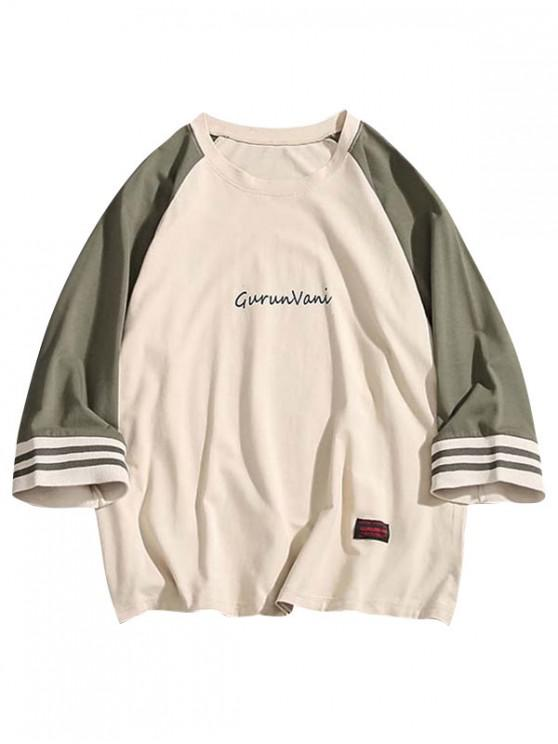 chic Letter Print Raglan Sleeves Color Block Tee - CAMOUFLAGE GREEN XL