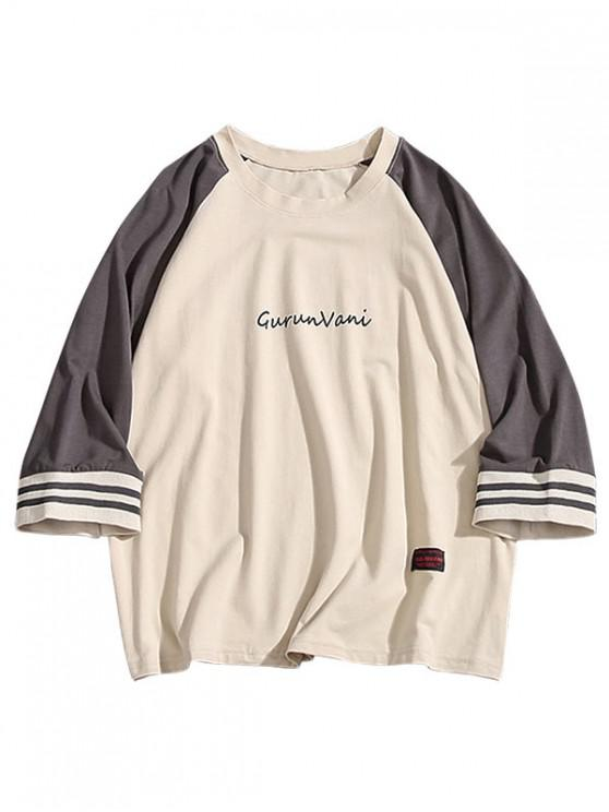 Camiseta Estampada Raglan Color Block Tee - Gris Oscuro M
