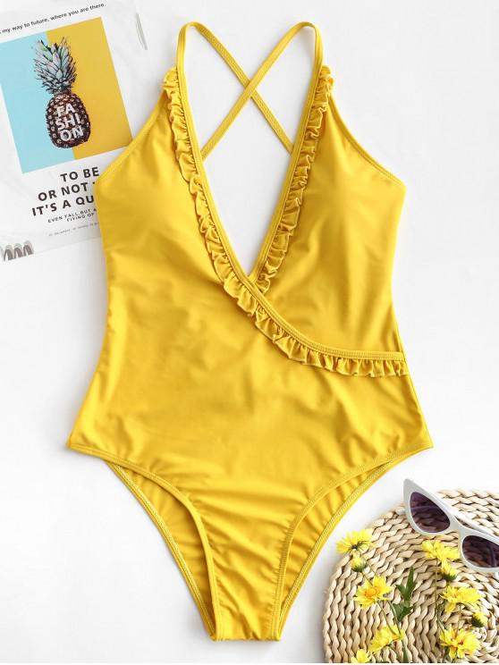 latest ZAFUL Frill Lace Up Swimsuit - GOLDENROD M