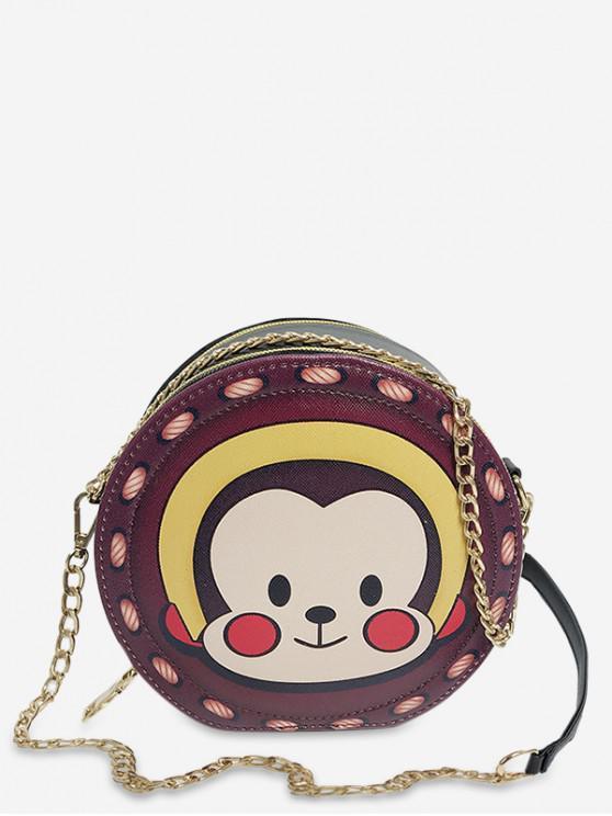 shop Animal Print Round Shoulder Bag - BROWN