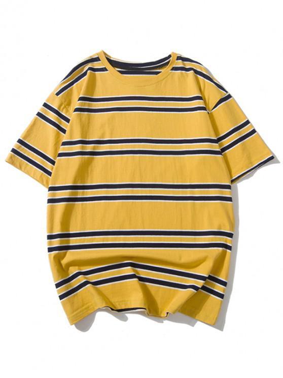 women's Striped Printed Drop Shoulder T-shirt - GOLDENROD L