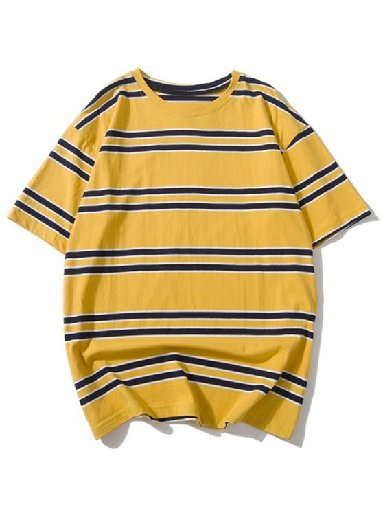 lady Striped Printed Drop Shoulder T-shirt - GOLDENROD 2XL