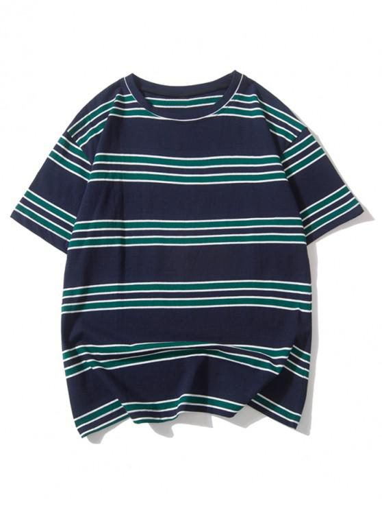 hot Striped Printed Drop Shoulder T-shirt - DARK SLATE BLUE 2XL