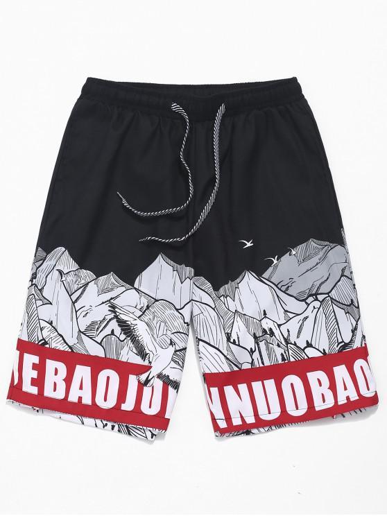 Shorts de playa con estampado de montaña de Letter Stone - Multicolor XS
