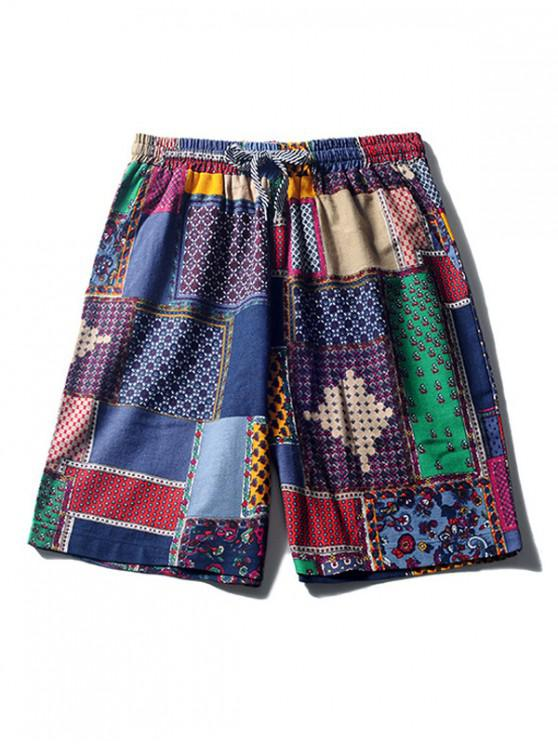 lady Floral Tribal Print Beach Shorts - MULTI-A M