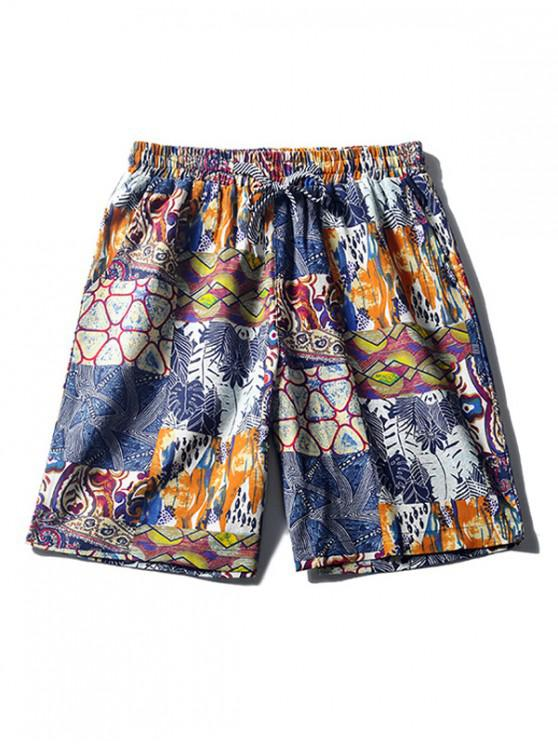 new Tribal Leaf Painting Print Casual Board Shorts - SILK BLUE M