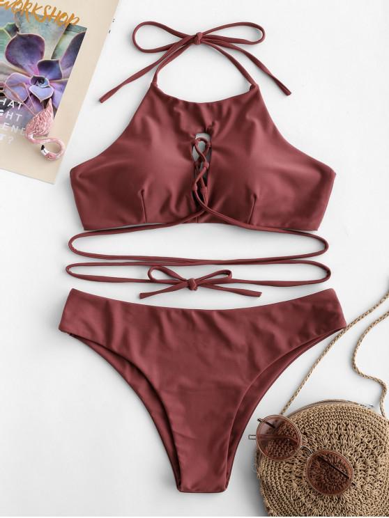 chic ZAFUL Lace Up Halter Bikini Set - CHESTNUT M