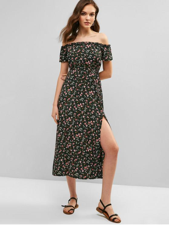 affordable ZAFUL Floral Midi Slit Off Shoulder Dress - DEEP GREEN S