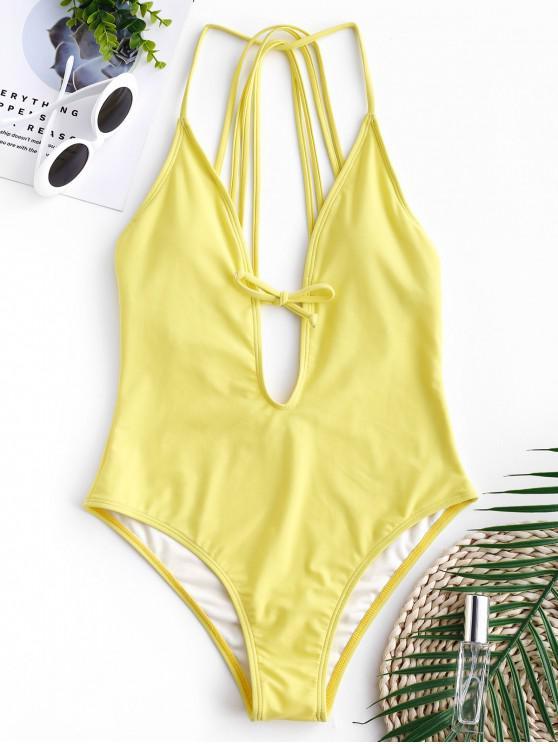 fashion ZAFUL Strappy Plunging Swimsuit - CORN YELLOW S
